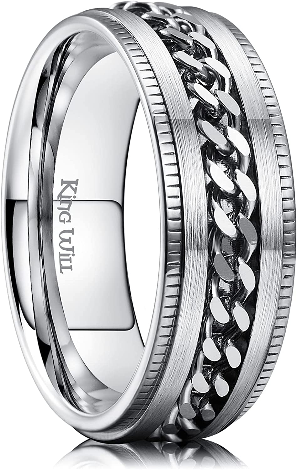 King Will Intertwine 8mm Spinner Ring Stainless Steel Fidget Ring Anxiety Ring for Men Black/Blue/Silver