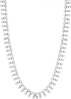 Steve Madden Silver-Tone Rhinestone Bar Design Collar Necklace For Women