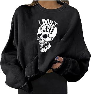 pamkyaemi Sweatshirt dames elegant retro schedel bedrukte casual trui tops blouse casual Halloween lange mouwen dames rond...