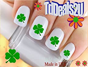 Nail Art Decals WaterSlide Nail Transfers Stickers Holiday St. Patricks Day - 4 Leaf Irish Clovers Set #4 Green Clover - Salon Quality! DIY Nail Accessories