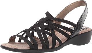 LifeStride Women's Tender Flat Sandal, Black, 7 M US