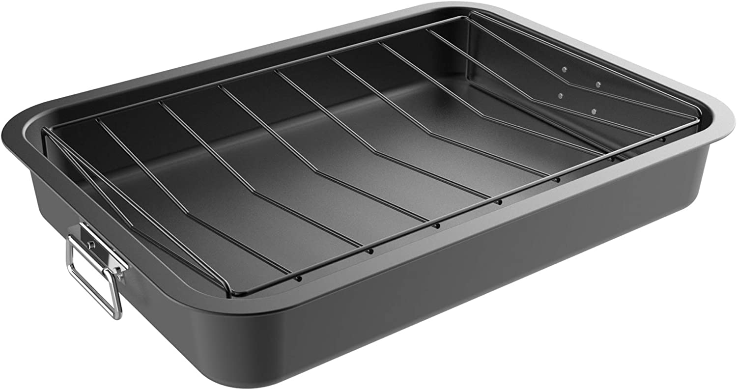 Classic Cuisine Roasting Pan with Roas Free Limited time sale shipping anywhere in the nation Oven Angled Rack-Nonstick