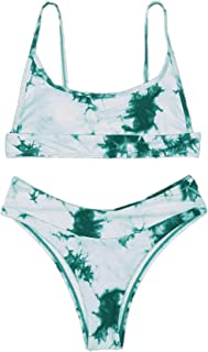 SOLY HUX Women's Tie Dye High Waisted Bikini Bathing Suits Two Piece Swimsuits