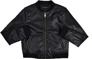 Womens 171413 Faux Leather Bomber Jacket Black