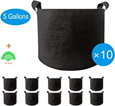 Adorma 10 Packs 5 Gallon Grow Bags, Heavy Duty 300G Thickened Nonwoven Fabric Plant Pots with Handle