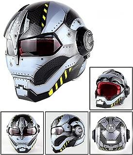 FlyingBoy Flip Open Helmet - DOT Certified Iron Man Transformers Four Seasons Adult Helmet Motorcycle ATV Cruiser Sport Travel Safety Helmet,3,XL