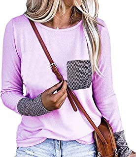 UUGYE Womens Pullover Top Casual Long Sleeve Baggy Blouse Top Shirts with Pockets