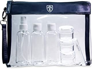 TSA Approved Clear Toiletry Bag with 7 Bottles (max.3.38oz) - Liquid Travel Set - Transparent Zipper Bag for Cosmetics - P...
