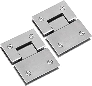 (2 Pack)180 Degree Glass Door Hinges, Heavy Duty Bathroom Gate Clamp, Shower Room Doors Hinge Replacement Parts, Stainless Steel Brushed Finish, Suits for 8-12 mm Toughened Glass