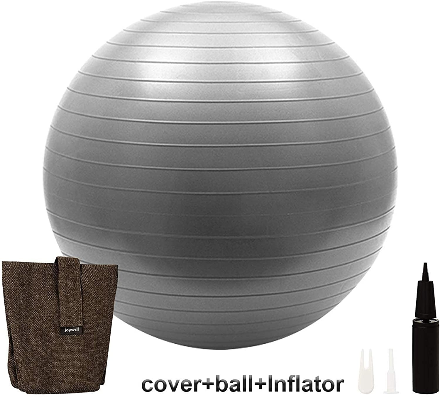 Joywell Exercise Ball with Multifunctional Cover Included Pump Yoga Fitness Stability Base Sitting Ball Chair for Office Home Indoor Outdoor (75CM Chocolate)
