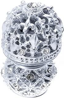 Carpe Diem Hardware 7621-24C Versailles Medium Round Knob Fleur De Lys Open Basket Decorative Spherical Foot with Swarovski Crystals, Platinum