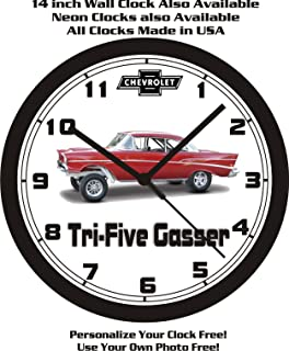 1957 CHEVROLET TRI-FIVE GASSER WALL CLOCK-FREE USA SHIP!
