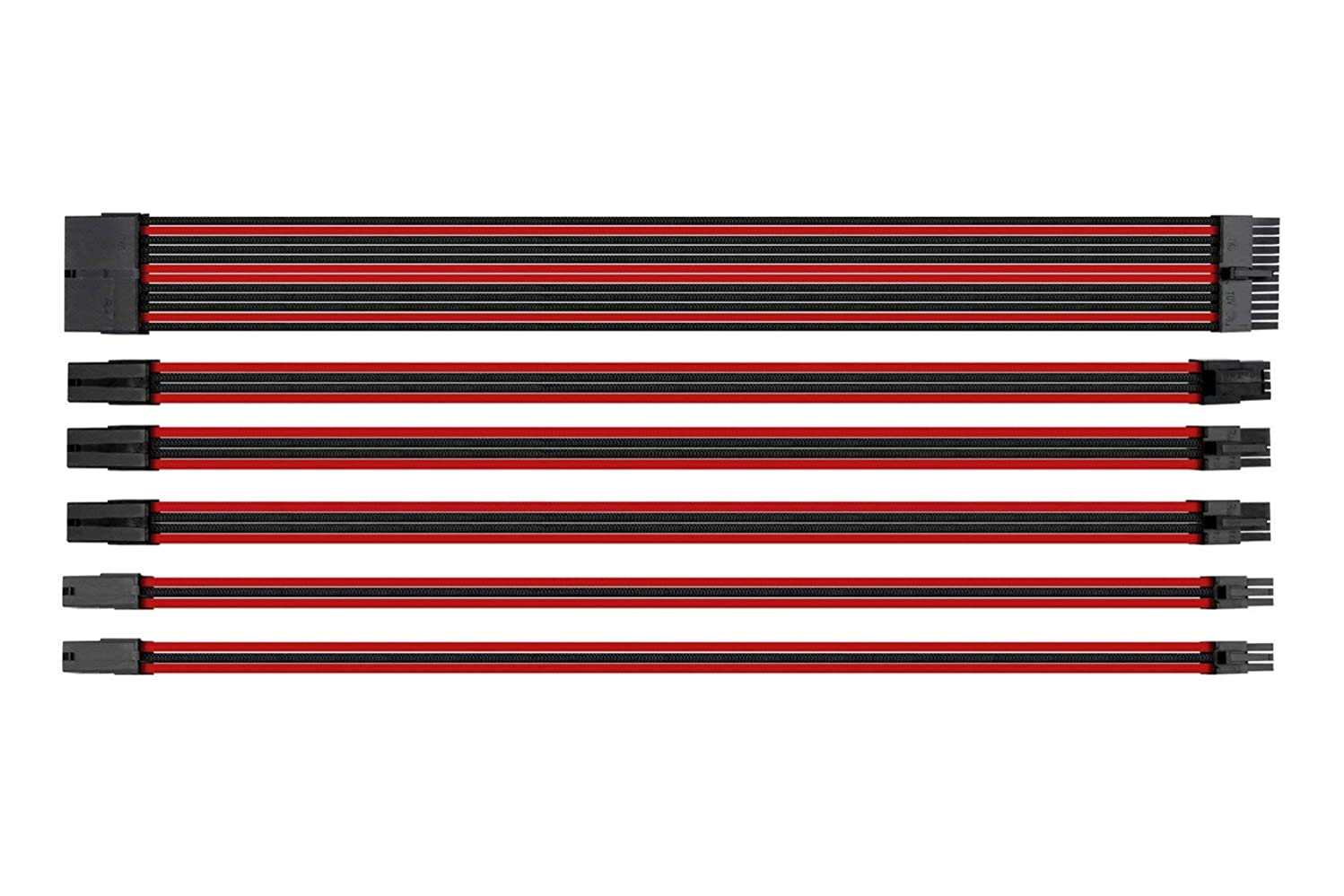 ATX Computer Sleeved Extension Cable Management,6 Pack with Cable Comb (Redblack)