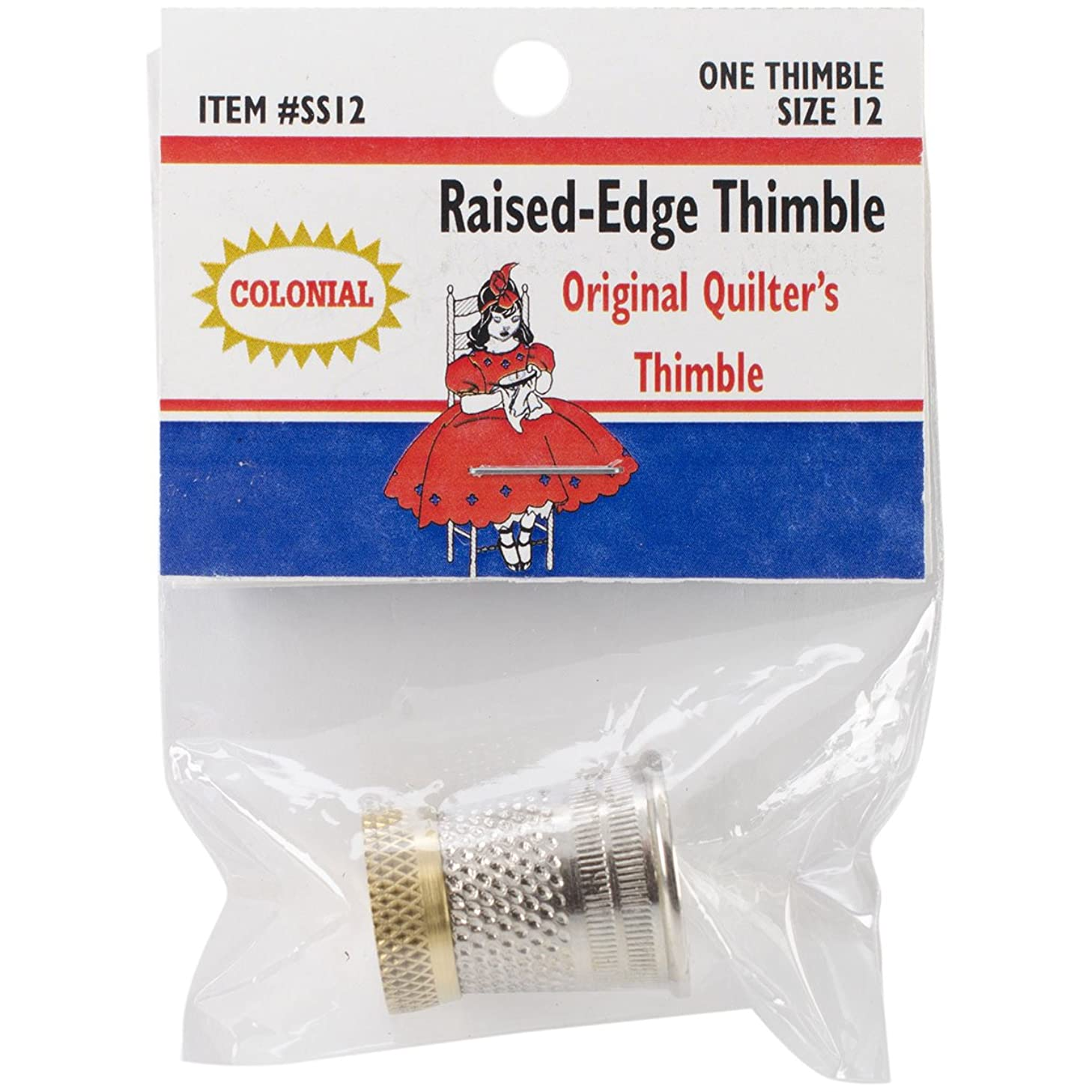 Colonial Needle SST-12 Raised Edge Thimble, Size 12