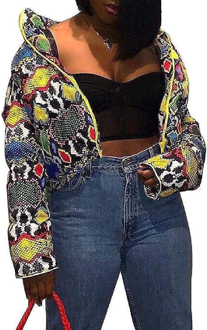 Womens Warm Zipper Serpentine Print Stand Collar Slim Fit Down Jackets