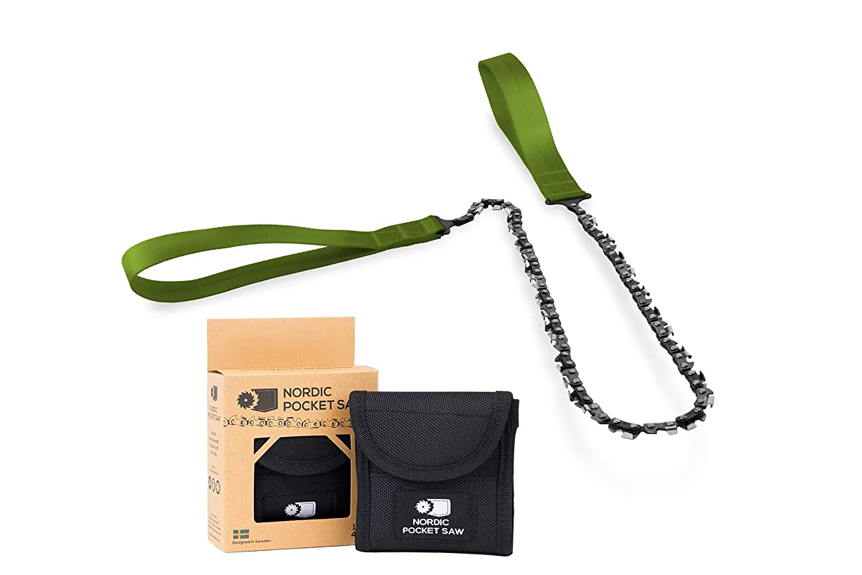 Nordic Pocket Saw - Original - Compact Folding Camping Chainsaw. Survival Handsaw kit with Nylon Pouch for Hunting, Hiking and Outdoors