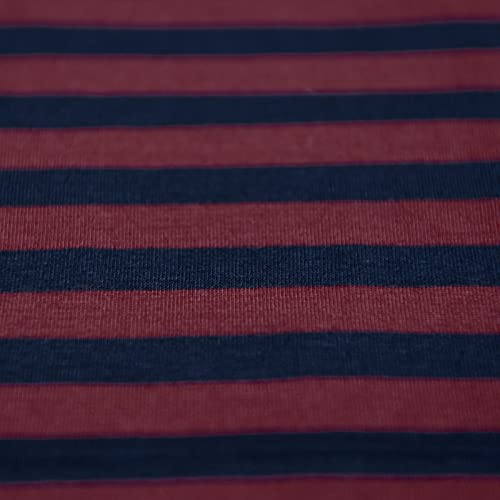3289f835036 Navy Blue & Dark Maroon Red Stripe Single Jersey Knit Fabric 100% Cotton -  sold