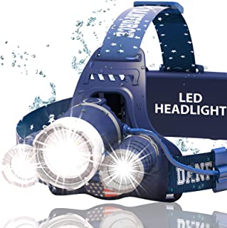 DanForce Headlamp, Ultra Bright Rechargeable LED Headlamp,CREE 1080 Lumens,Zoomable Head Lamp Flashlight. Headlight USB Rechargeable, IPX45 HeadLamps for Camping, Outdoors,Red Light Include
