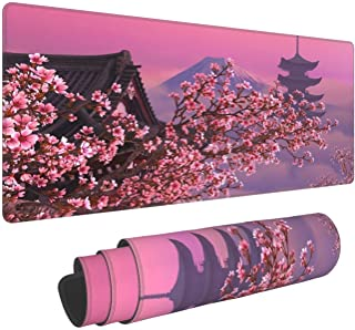 Japanese Sakura Flower Extended Mouse Pad 31.5x11.8 Inch XL Pink Cherry Blossom Non-Slip Rubber Base Large Mousepad with S...