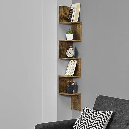 Étagère d'angle en Forme Zigzag Meuble de Rangement Murale Capacité de Charge Jusqu'à 15 kg 123 x 19,5 x 19,5 cm MDF Mat Laqué Noix