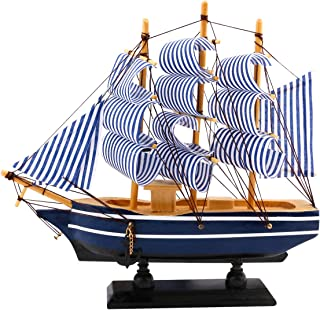 """Dedoot Wooden Sailing Ship Model, Vintage Handmade Wood Sailboat Model Nautical Decor 8""""x7"""" for Tabletop Ornament, Photo Props, Beach Ocean Theme Party and Room Decoration"""