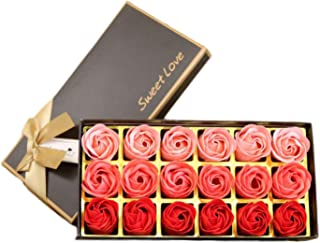 SunTrade 18 pcs Floral Scented Bath Soap Rose Flower Petals,Gift for Anniversary/Birthday/Wedding/Valentine's Day/Mother's Day (Red)