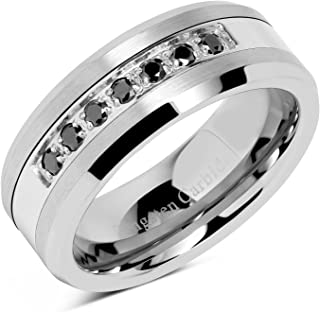 086336130159 100S JEWELRY 8mm Men s Tungsten Ring Black Cz Inlay Wedding Band Titanium  Color Size 8-