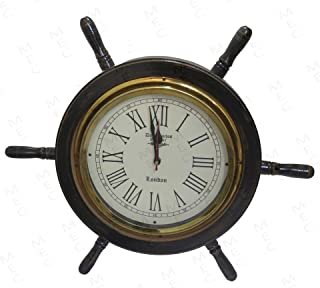 Averex Handcrafted Wall Decor Wooden Clock Ship Wheel | Pirate's Accent