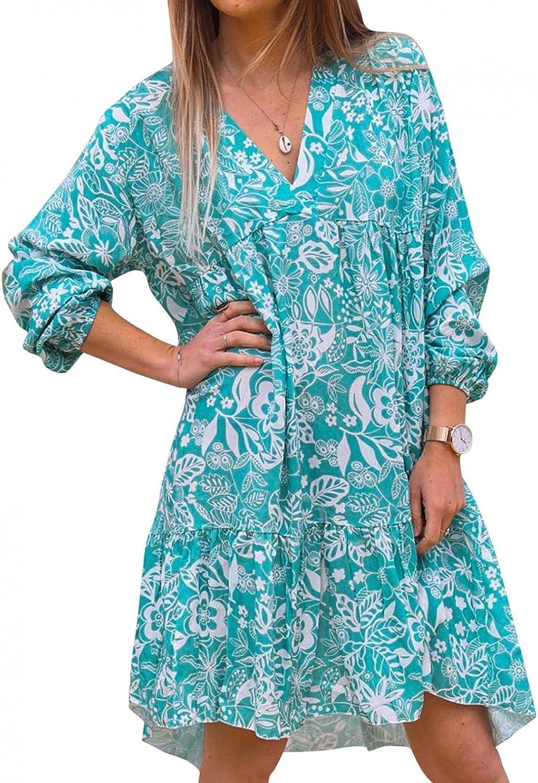 Women Fall Tunic Dress Long Sleeve V Neck Casual Loose Oversize Short Midi Dresses Floral Swing Mini Dress