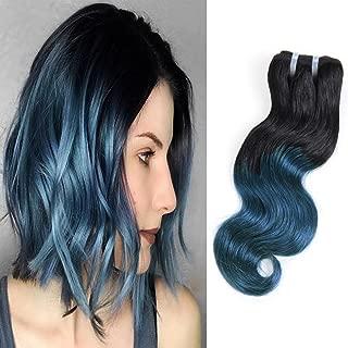 Unprocessed Brazilian Virgin Hair Brazilian Remy Hair Ombre Blue Body Wave Bundles 4 pcs 10 inch 50 g/pcs Total 200 g Human Hair Extensions Hair Weaving (1B/BLUE)