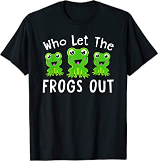Frog Shirt Boys Girls Kids WHO LET THE FROGS OUT Funny Gift