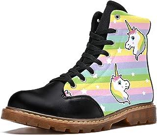 LORVIES Motif de Licorne Hipster Arc-en-Ciel coloré Bottes d'hiver Chaussures Montantes en Toile à Lacets pour Hommes
