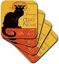 3dRose cst_46907_1 Le Chat Noir-Advertising, Art Nouveau, Black Cat, Cat, Cats, Chat Noir, Le Chat-Soft Coasters, Set of 4