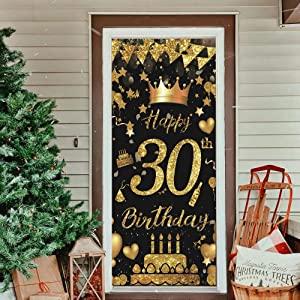 30th Birthday Party Decorative Door Cover, Large Black & Gold Happy 30th Birthday Door Banner Sign, Photo Booth Backdrop Background Banner for 30 Birthday Party Favor and Supplies