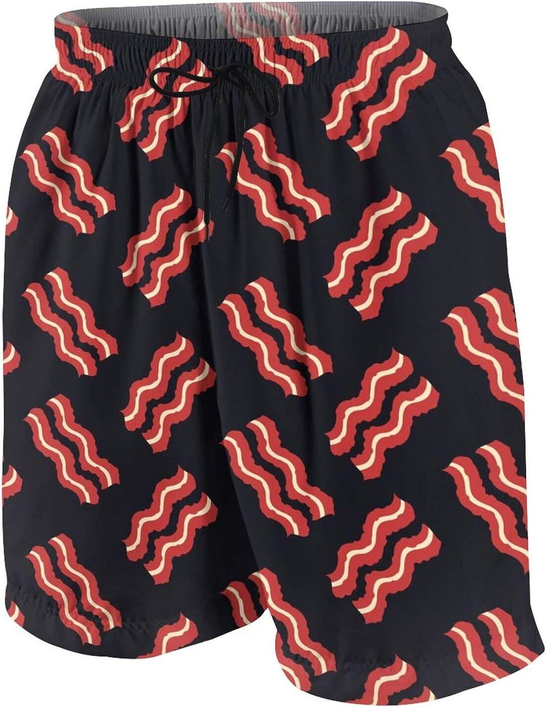 Delicious Bacon Boys Swim Trunks Quick Dry Beach Board Swim Shorts Swimsuit Swimwear from 7T to 18