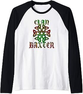 Baxter Scottish Clan Family Name Tartan Knot  Raglan Baseball Tee