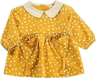 Mornyray Toddler Girls Autumn and Spring Skirt Geometric Triangle Cartoon Pattern Design Pleated Skirt Long Sleeve Cute Gi...