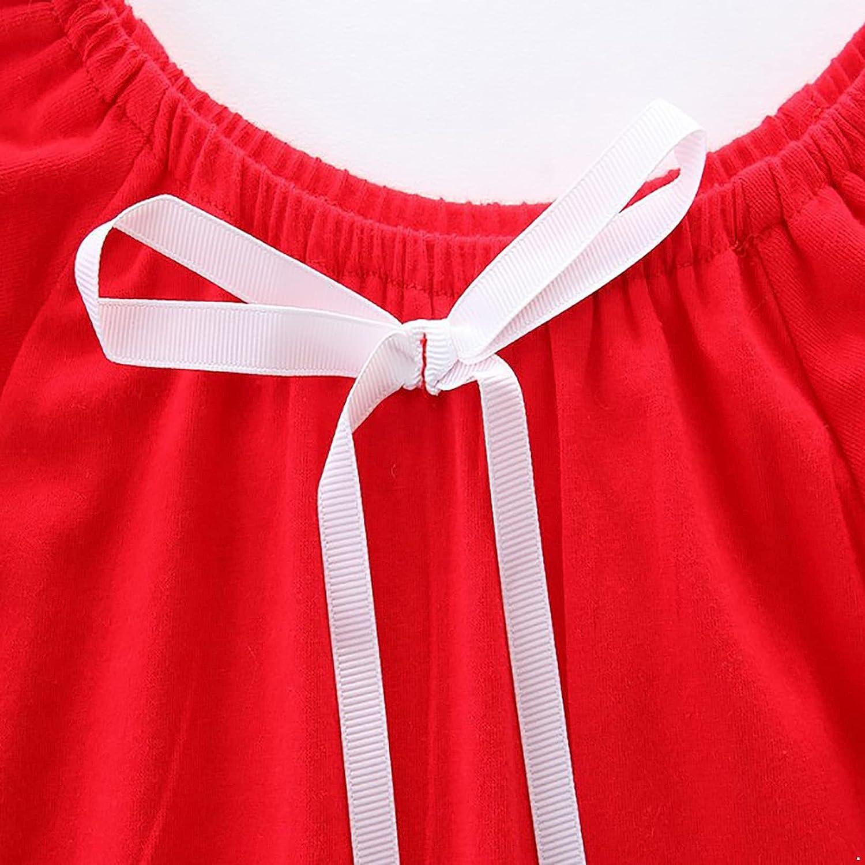 JanJean Kids Girls Summer Cotton Casual Dress Long Sleeves Ruffle Hem Loose Dress with Bowknot Princess Dress Loungewear