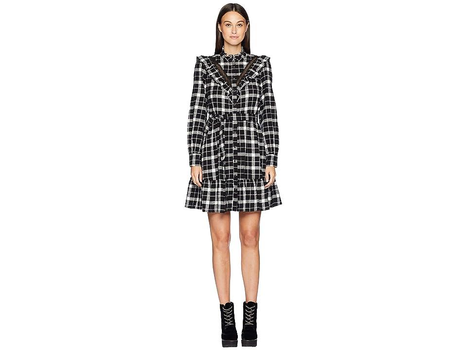 Kate Spade New York Broome Street Rustic Plaid Flannel Dress (Black) Women