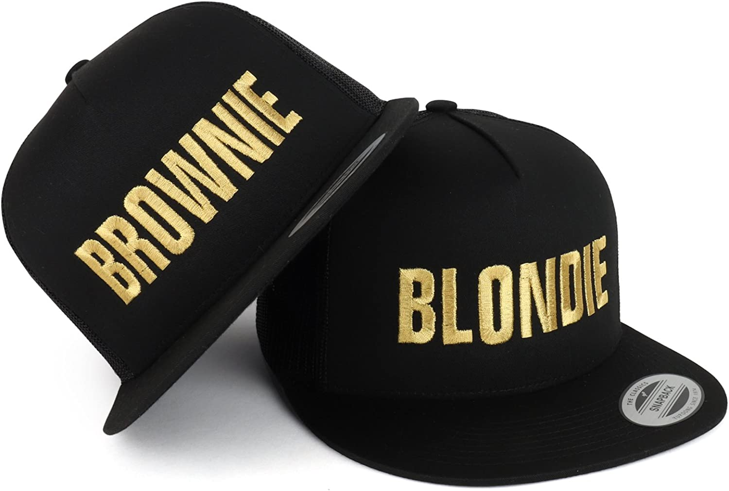 Trendy Apparel Shop Blondie and Brownie Gold Embroidered 5 Panel Flat Bill Mesh Cap