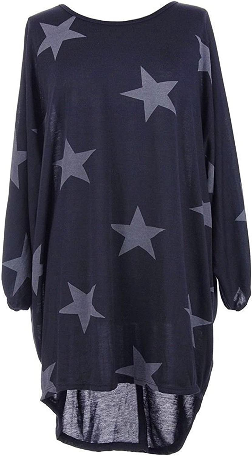 ZG&DD Women's Star Print Dress Round Neck Long Sleeve Summer Casual Loose Tshirt Dress