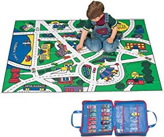 Play City Floor Map with 10 Die-cast Metal Cars and Carrying Case
