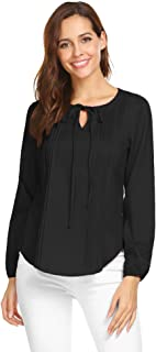 Zeagoo Women's Casual Long Sleeve Round Tie Neck Pleated Casual Blouse Tops