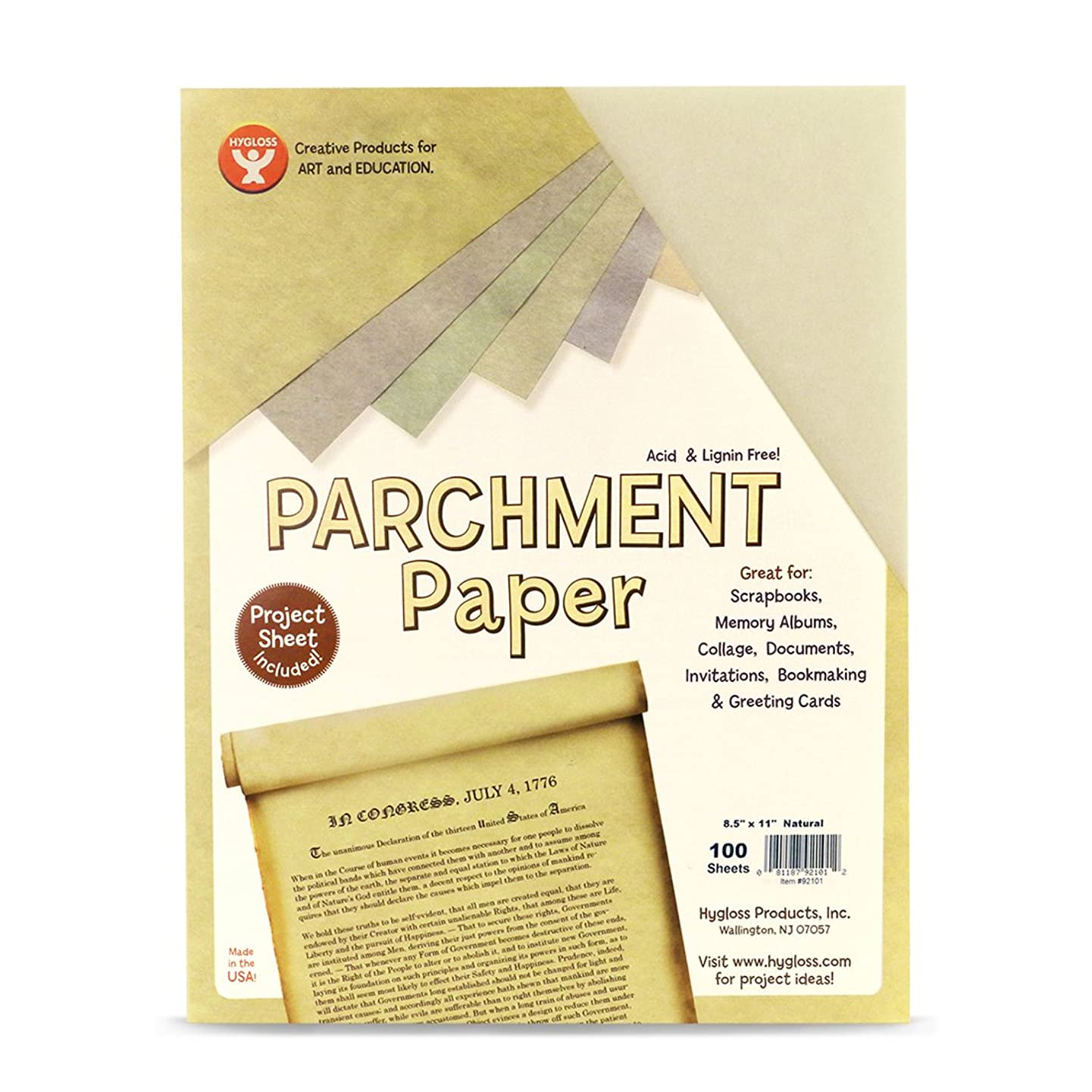 Hygloss Products Craft Parchment Paper Sheets - Printer Friendly, Made in USA - 8-1/2 x 11 Inches, Natural, 100 Pack
