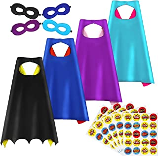 Superhero Capes, DIY Dress Up Capes and Mask Set, 4 Packs with 100 Stickers