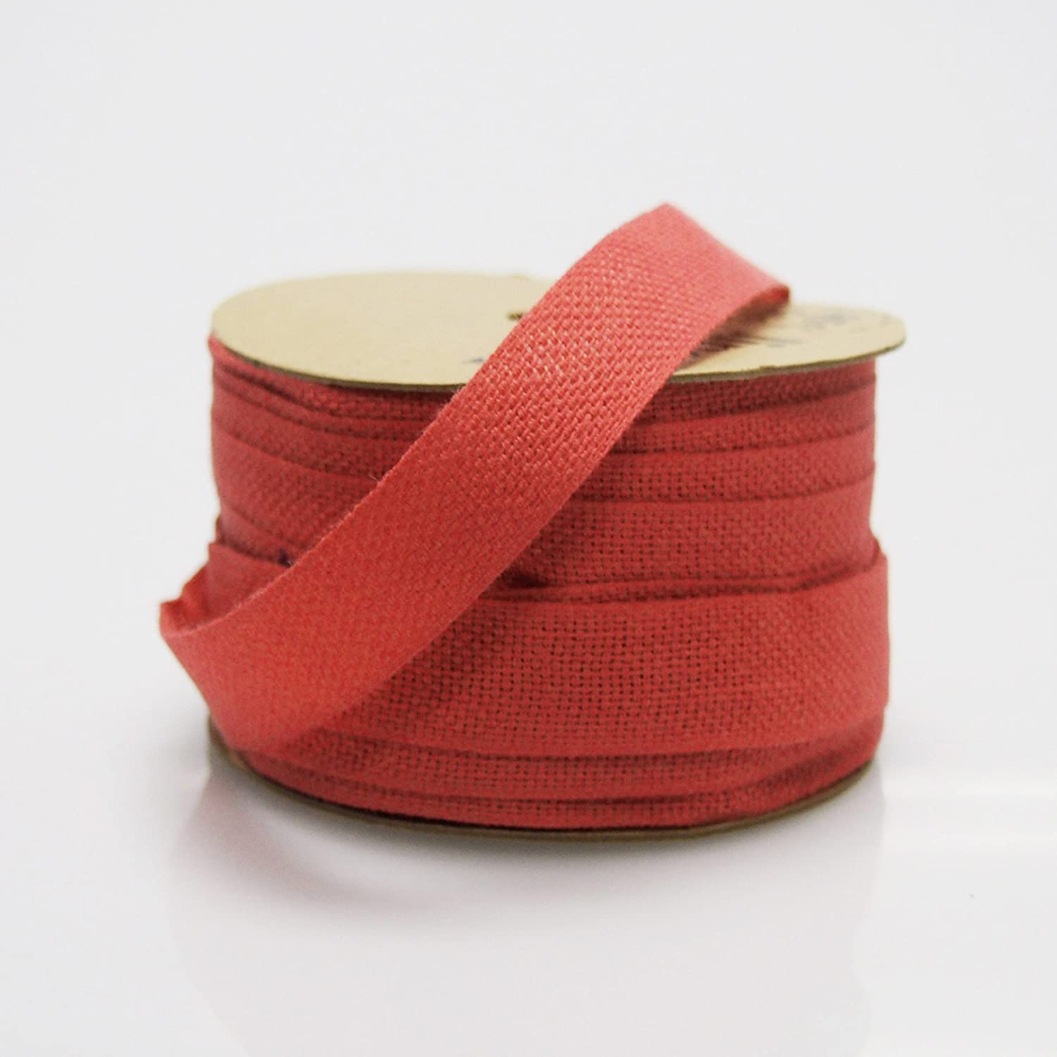 Cotton Linen Blend Fabric Ribbon Red 25-yard Ranking TOP15 8-inch Special price for a limited time 5