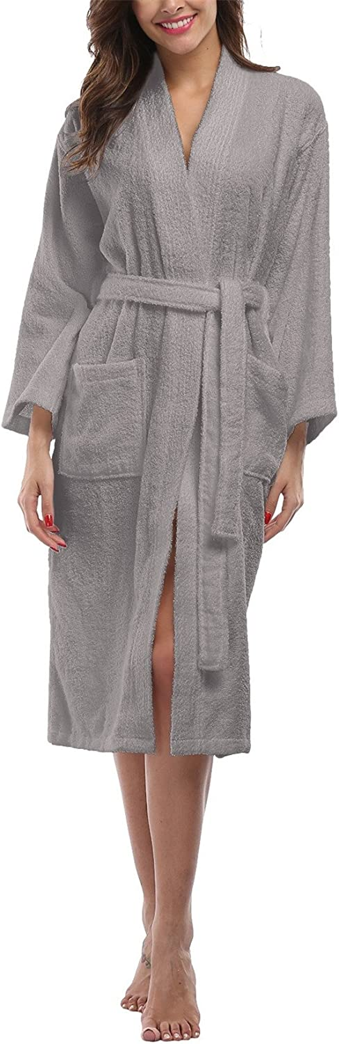 FADSHOW Women's Terry Cloth Robes, Lightweight 100% Terry Cotton Spa Bathrobe,Long