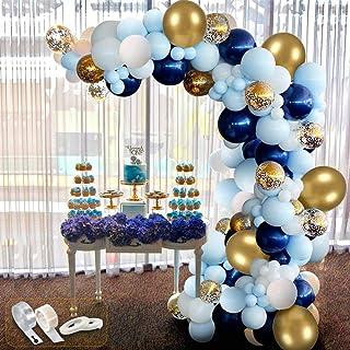 APERIL 94 pcs kit Ballon Guirlande, Ballons Blanc + Ballon Bleu + Ballon Transparents et Confettis + Ballons Dorés Métalli...
