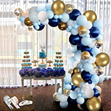 APERIL 94Pcs Kit de guirnaldas con Globos, Kit de Arcos de Globos Azul Blanca y Dorada Confeti Lleno de Globos de látex Paquete con Cinta de Globos para cumpleaños Decoración de Banquete de Boda
