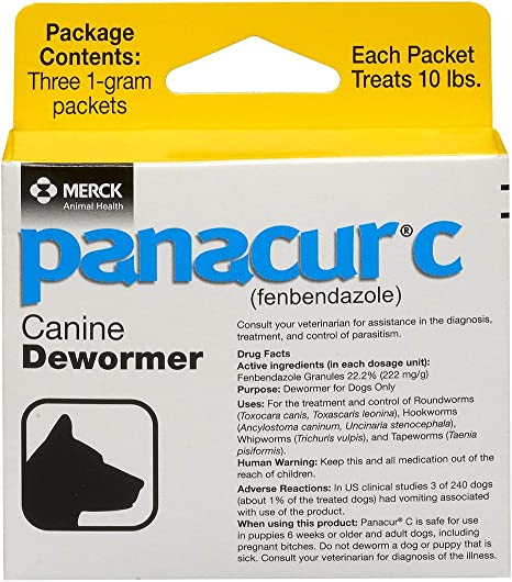 Panacur C Canine Dewormer (Fenbendazole), 1 Gram, Yellow, 3 Count (Pack of 1)